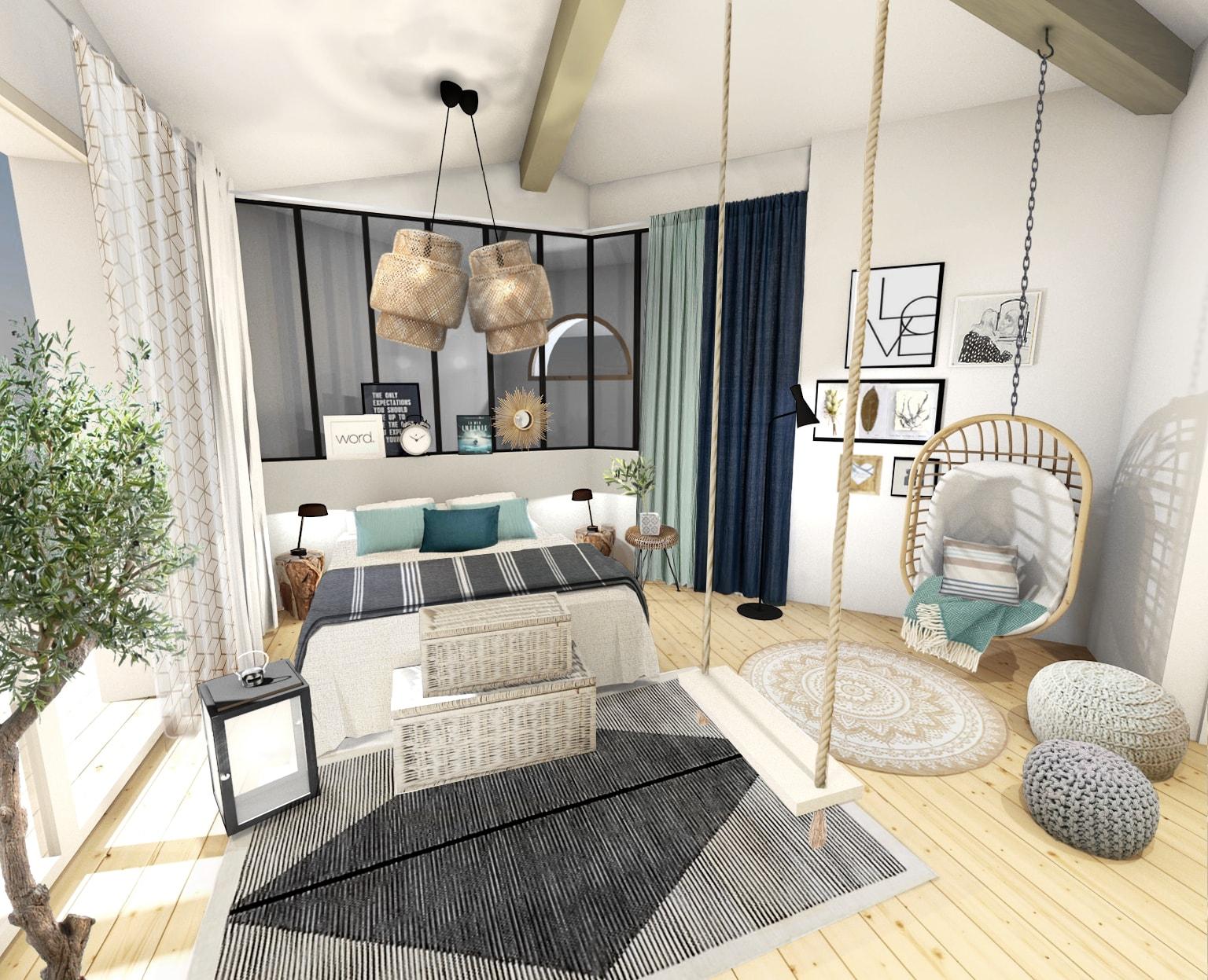 Une belle chambre à l'esprit bord de mer chic