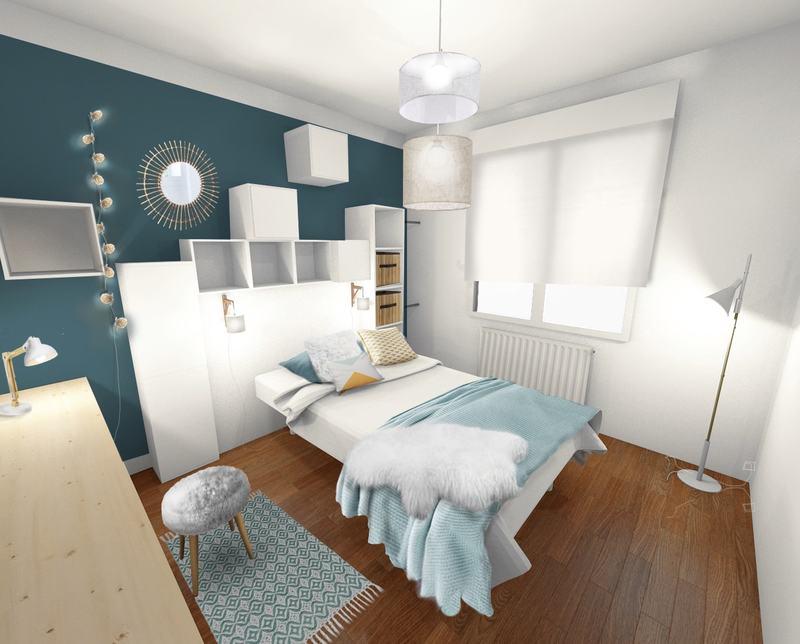 Chambre scandinave rétro bleu